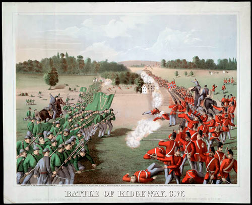 Illustrated print, showing a battle, with soldiers in green on the left and soldiers in red on the right.